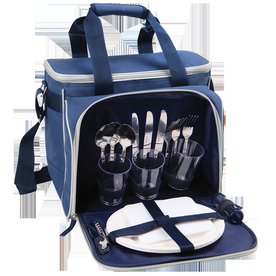 Набор для пикника на 3 человека, синий с рисункомШашлычные наборы для пикника<br>Набор для пикника на 3 человека вместе с сумкой холодильником – это отменный вариант для удачного пикника. Лаконичная по своему внешнему виду сумка-набор для пикника на 3 персоны имеет просторное внутренне отделение объемом 13,5 л. Сам набор для пикника Арктика 4100 помещается в боковой карман и полностью укомплектован. Составляющие набора: стаканы, вилки, ножи, ложки, тарелки, штопор, разделочная доска и солонка с перечницей - все необходимое для комфортного отдыха на свежем воздухе небольшой компании, состоящей из 3 персон. Холодильный отсек вы можете использовать и в качестве самостоятельной сумки-холодильника, и вместе с посудой.Сумка холодильник для пикника с набором посуды – полезный и приятный презент человеку, который любит приятно проводить время на природе.<br>Объем - 13,5 л.Высота - 230 ммВес (кг) -2,2 кг.<br>