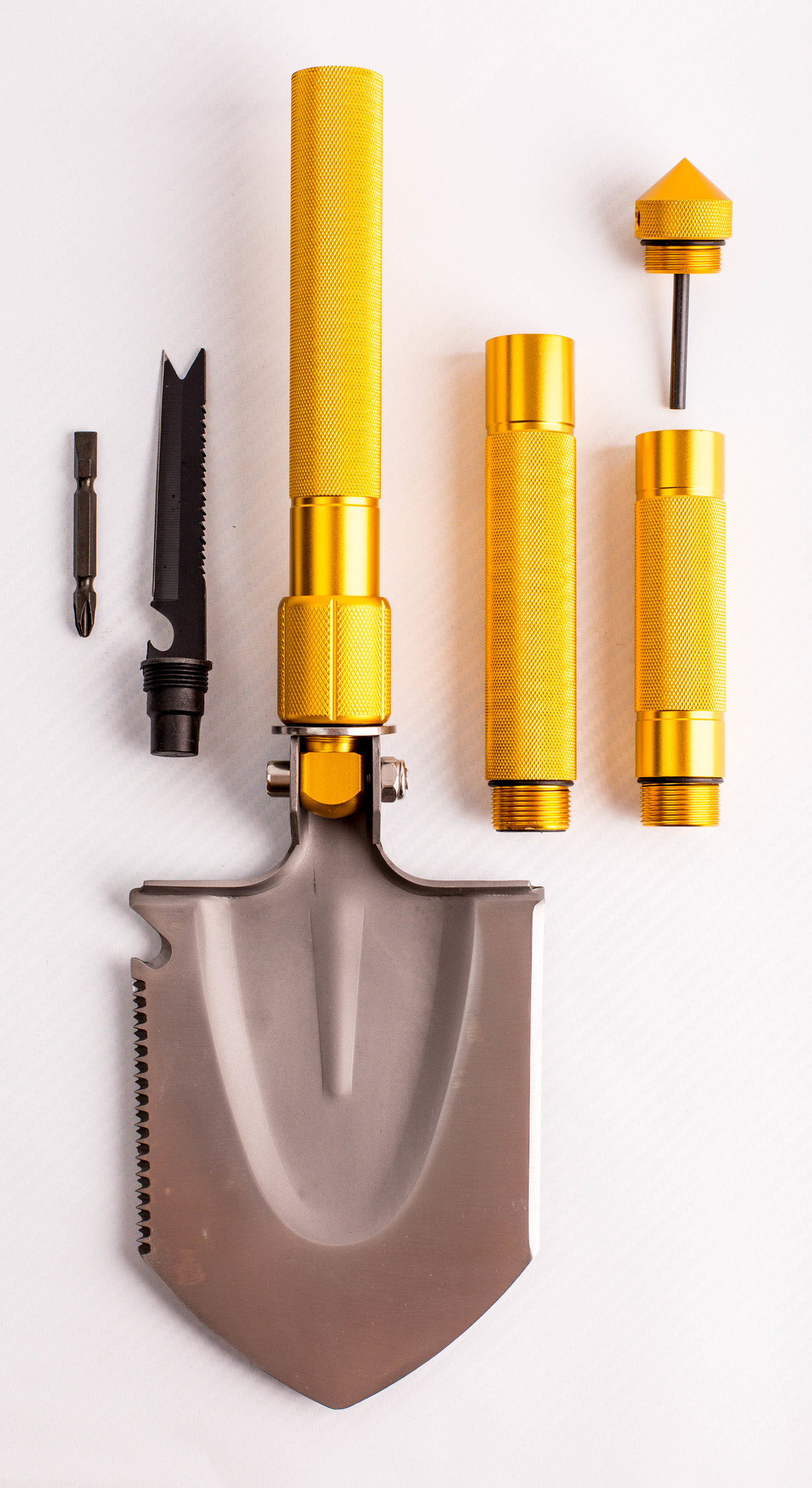 Многофункциональная лопата, золотистая рукоятка