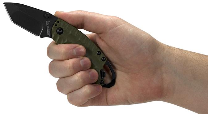 Фото 3 - Складной нож Shuffle II - KERSHAW 8750TOLBW, сталь 8Cr13MoV black-oxide BlackWash™, оливковая рукоять из пластика GFN