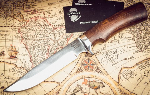 Нож Осетр 65Х13, орех и литье латунь - Nozhikov.ru