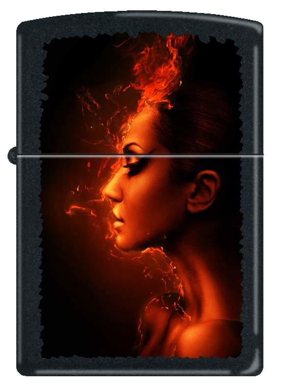 Зажигалка ZIPPO Девушка-огонь, латунь с покрытием Black Matte, чёрная, матовая, 36x12x56 мм23 февраля<br>Зажигалка ZIPPO Девушка-огонь, латунь с покрытием Black Matte, чёрная с женским профилем на фоне огня, матовая, 36x12x56 мм<br>