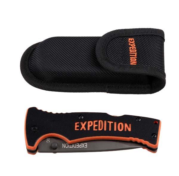 Нож Extreme складнойРаскладные ножи<br>Спешите купить складной нож с чехлом Extreme line, ведь только у нас вы сможете выбрать подарок отменного качества. Сделанный из нержавеющей стали, этот нож очень удобен в применении. Нейлоновый чехол, который к нему прилагается, очень легкий и прекрасно защитит нож от любых негативных внешних воздействий, что продлит его эксплуатацию на длительное время.<br><br>Особенности:<br>- оригинальный дизайн;<br>- небольшой вес и размер;<br>- наличие нейлонового чехла, который устойчив к образованию плесени.<br><br>Марка стали – 440С.<br>Материал рукояти – G10.<br>Общая длина: 21,9 см;<br>Длина клинка: 9,1 см.<br>