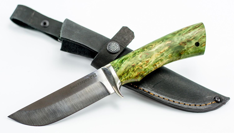 Нож туристический Пегас, быстрорез, сталь Р12, мельхиор, карельская береза