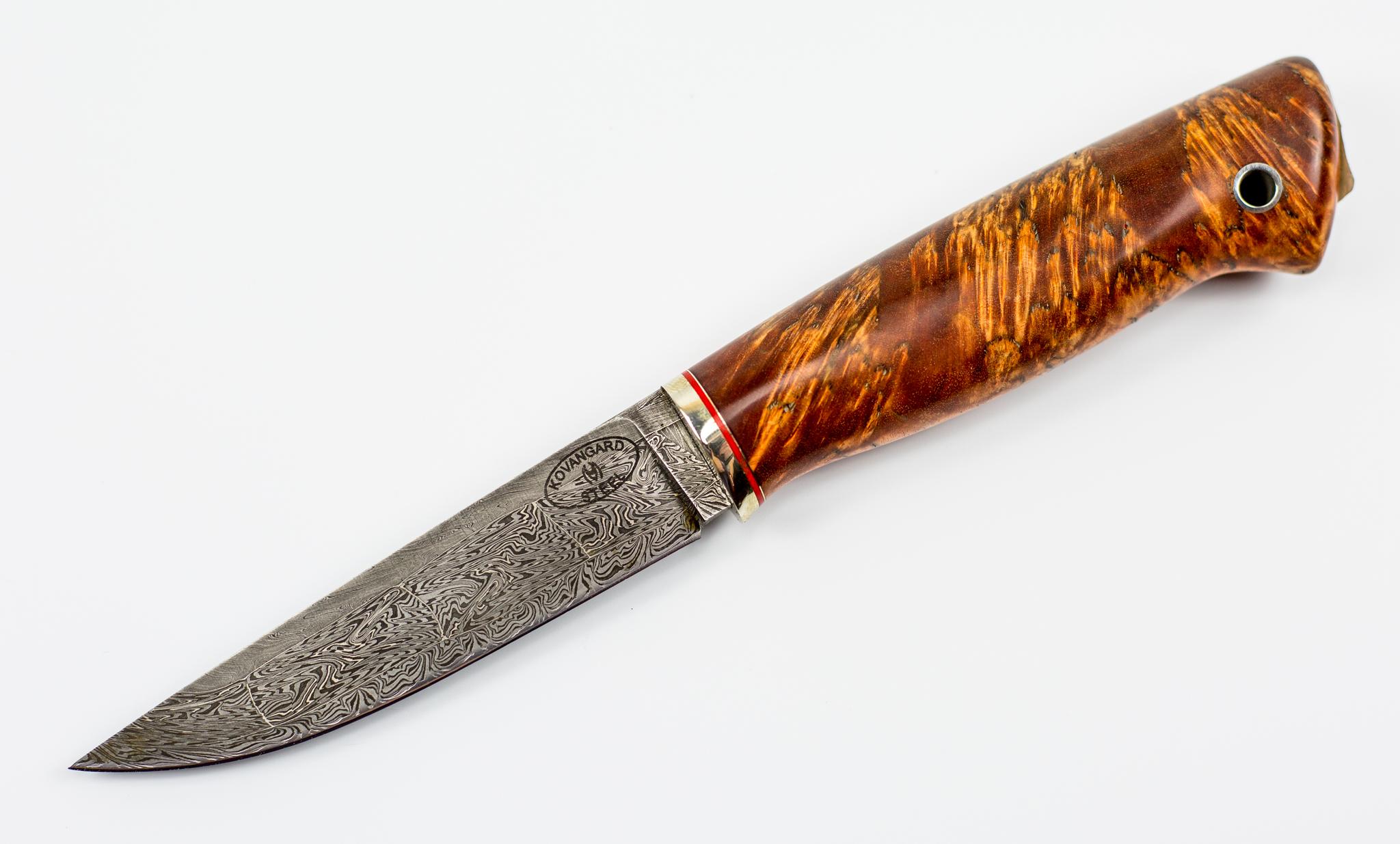 Нож из мозаичного дамаска №2, карельская березаНожи Ворсма<br>Нож Кузнеца Матвеева, мозаичный дамаск, карельская береза.<br>