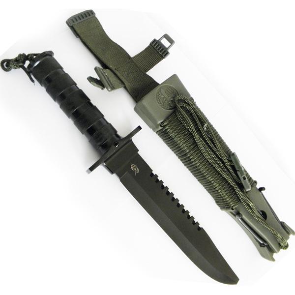 Нож для выживания Аллигатор40х13<br>Нож для выживания Аллигатор поставляется в максимально практичной для экстремальных случаев комплектации. Основной нож с отверткой на конце и полой рукояткой вмещает также компас и герметическую капсулу. Она содержит: спички, пластырь, скальпель, снасти для рыбалки, иголку, нитку, карандаш и др. Ножны оснащены зеркальной пластиной из металла, при помощи которой можно подавать световой сигнал о бедствии. На их корпусе закреплен 6-метровый шнур с точильным бруском и рогатка. Контейнер в ножнах вмещает огниво, жгут, емкость для соли, нож-скелетон. Нож скелетного типа оснащен гаечным ключом, стропорезом и открывалкой. В арсенале каждого любителя экстремального отдыха непременно должен быть Аллигатор. С таким помощником любая кризисная ситуация будет по-плечу!.<br>Смотреть все ножи для выживания.<br>