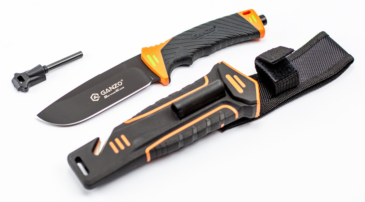 Фото 4 - Нож для выживания с огнивом и точилкой Ganzo G8012, черно-оранжевый