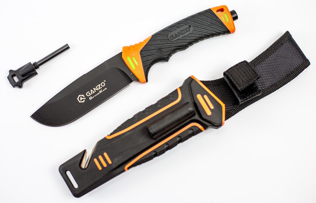 Фото 2 - Нож для выживания с огнивом и точилкой Ganzo G8012, черно-оранжевый