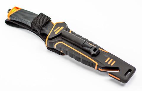 Нож для выживания с огнивом и точилкой G8012, черно-оранжевый - Nozhikov.ru