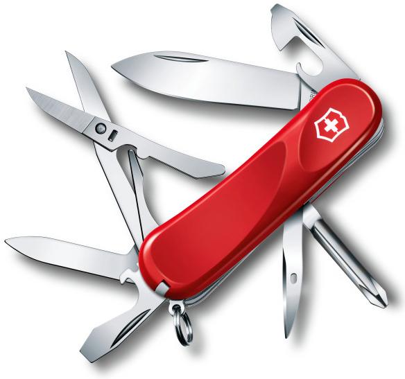 Нож перочинный Victorinox Evolution 16 2.4903.E 85мм 14 функций красныйШвейцарские армейские ножи Victorinox<br>Серия Evolution Модель 16 2.4903.E Цвет корпуса красный Размеры 26x85x20.5 мм<br>