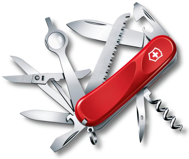 Нож перочинный Victorinox Evolution 23 2.5013.E 85мм 17 функций красныйШвейцарские армейские ножи Victorinox<br>Серия Evolution Модель 23 2.5013.E Цвет корпуса красный Размеры 27.5x85x26 мм<br>Складной швейцарский нож Victorinox Evolution с красной рукоятью содержит 12 элементов, выполняющих 18 функций:<br><br>Большой клинок<br>Пилка для ногтей<br>Пила по дереву<br>Ножницы<br>Увеличительное стекло / тонкая отвертка<br>Открывалка для консервных банок / плоская отвертка<br>Открывалка для бутылок / отвертка / паз для снятия изоляции<br>Шило / кернер<br>Крестовая отвёртка<br>Пинцет<br>Зубочистка<br>Кольцо для ключей<br>