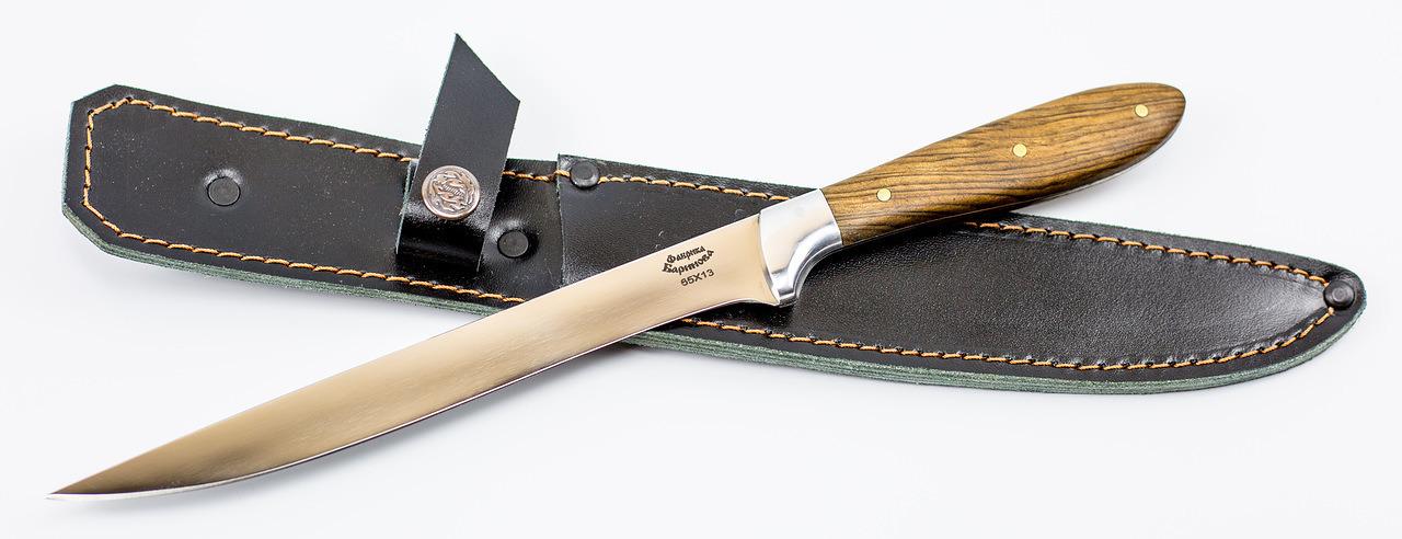 Фото 4 - Нож филейный цмт Нерпа-Русь, сталь 65х13, рукоять орех от Фабрика Баринова