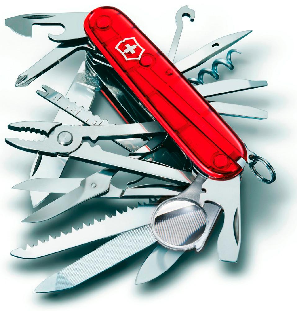 Нож перочинный Victorinox SWISS CHAMP 91мм полупрозрачный красныйШвейцарские армейские ножи Victorinox<br>Настоящий офицерский нож SWISS CHAMP - топовая модель в своей серии.<br><br>Уникальный набор рекордного количества функций.<br>Классический дизайн Victorinox, доступен в трех цветовых оттенках.<br>Стильная полированная нейлоновая рукоять.<br>
