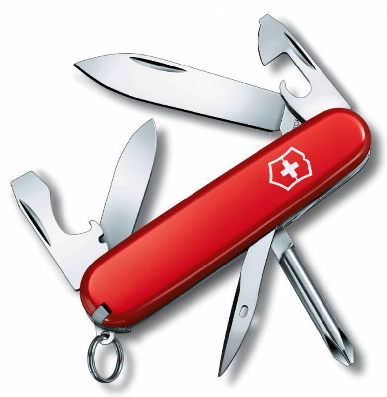 Нож перочинный Victorinox Tinker Small 0.4603 84мм 12 функций красныйШвейцарские ножи Victorinox<br>Армейский нож TINKER SMALL – это многофункциональный инструмент с набором из 12 функций:<br>Большое лезвие<br>Малое лезвие<br>Крестовая отвертка<br>Шило, Кернер<br>Кольцо для ключей<br>Пинцет<br>Зубочистка<br>Открывалка для бутылок с:<br>- Отверткой<br>Открывалка для консервов с:<br>- Отверткой<br>- Инструментом для снятия изоляции<br>Длина: 84 мм<br>Цвет: Красный<br>