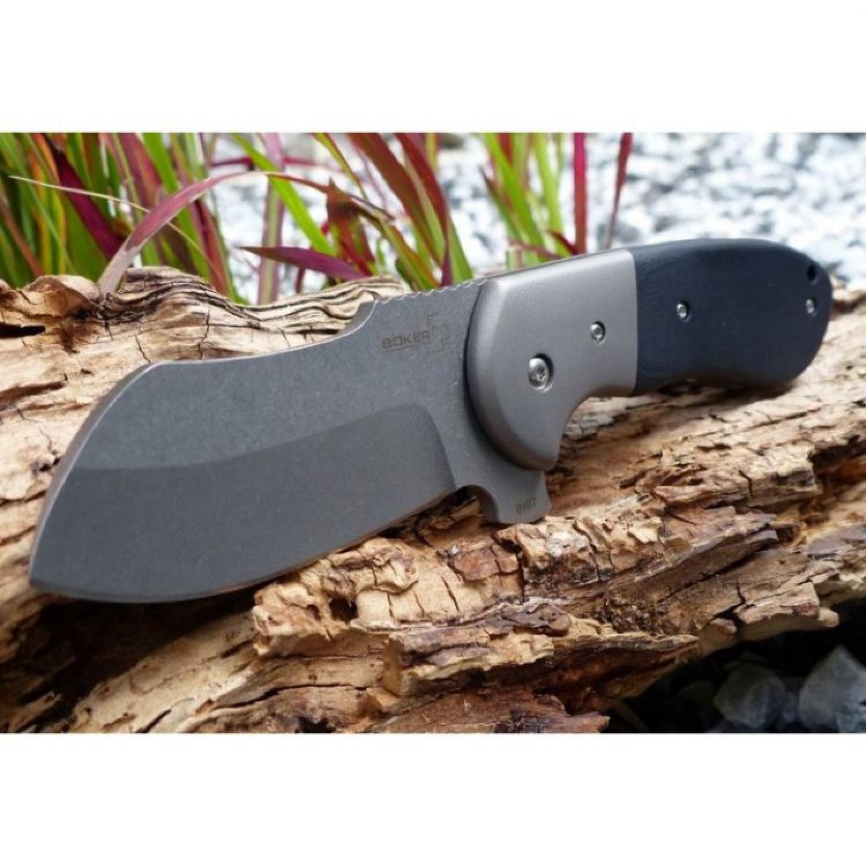 Фото 5 - Нож складной Impetus Burchtree Bladeworks (IKBS® Flipper), Boker Plus 01BO720, сталь 440C Stonewashed Plain, рукоять стеклотекстолит G10