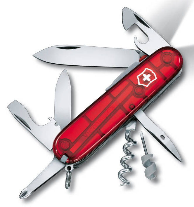 Нож перочинный Victorinox Spartan Lite 1.7804.T 91мм 15 функций полупрозрачный красныйШвейцарские армейские ножи Victorinox<br>Офицерский нож SPARTAN LITE – это многофункциональный инструмент с набором из 14 функций:<br>Большое лезвие<br>Малое лезвие<br>Штопор<br>Консервный нож с:<br>– Малой отверткой (3 мм)<br>Открывалка для бутылок с:<br>– Отверткой <br>– Инструментом для снятия изоляции<br>Шило, кернер<br>Кольцо для ключей<br>Пинцет<br>Зубочистка<br>Белый светодиод<br>Крестовая отвертка<br>Длина: 91 мм,<br>Цвет: Прозрачный красный<br>