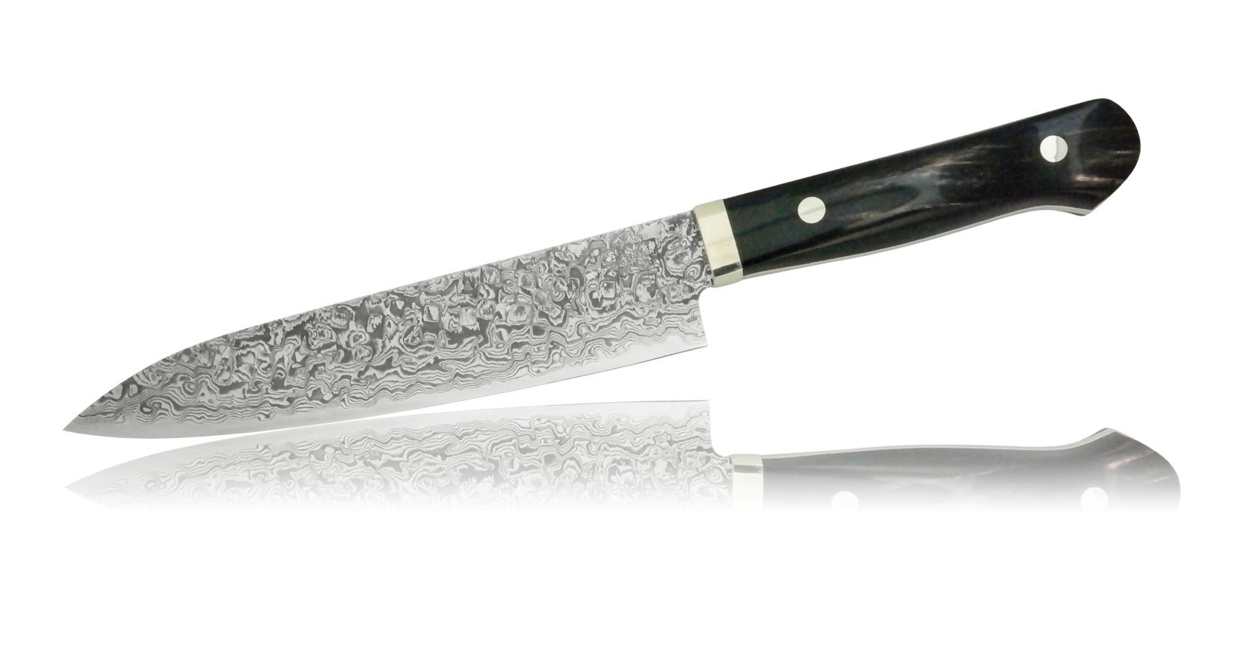 Нож универсальный Hiroo Itou, 150 мм, сталь R-2 в обкладках Damaskus, рукоять железное дерево