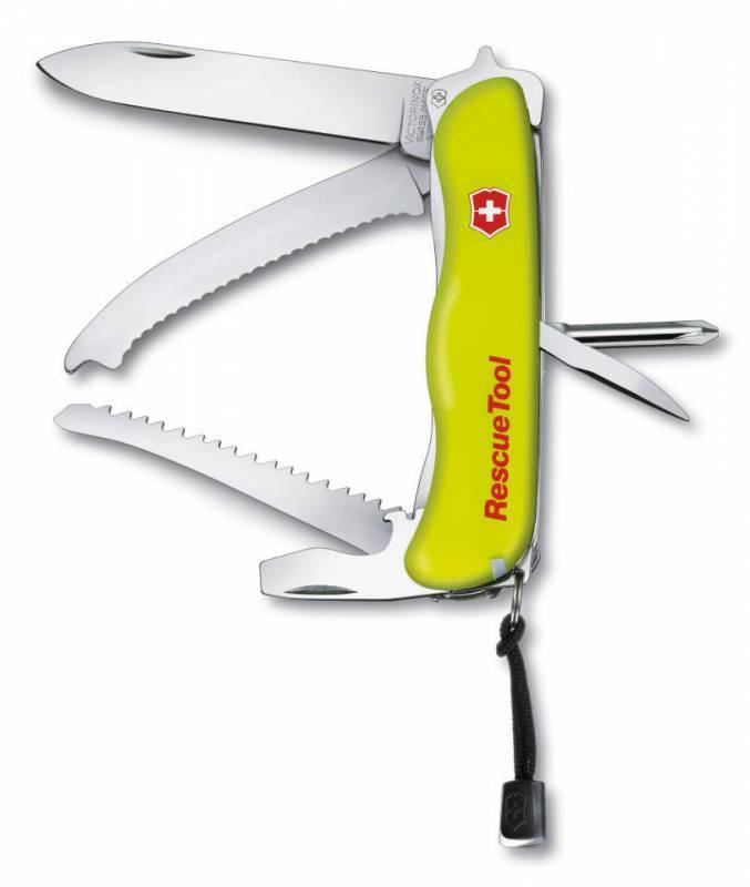 Нож перочинный Victorinox RescueTool 0.8623.N с фиксатором лезвия 15 функций желтый люминисцентныйШвейцарские армейские ножи Victorinox<br>Нож для спасателей с фиксатором RESCUE KNIFE - это многофункциональный инструмент с набором из 12 функций: Большое фиксирующееся лезвие Отвертка Phillips Интсрумент для разбивания стекла Большая отвертка / Инструмент, открывающий деревянные ящики (фомка) с: - Открывалкой для бутылок - Инструментом для снятия изоляции Развертка, кернер Лезвие для разрезания ремня безопасности Кольцо для ключей Пинцет Зубочистка Дисковая пила для небьющегося стекла Длина: 111 мм Цвет: Желтый Особенности: Светящаяся рукоять, нейлоновый шнурок и нейлоновый красный чехол входят в комплект<br>