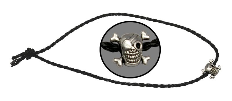 Темляк Веселый Роджер, плетёныйViking Nordway<br>Длина: 500 мм Диаметр: 3 мм Материал: кожа/металл<br>