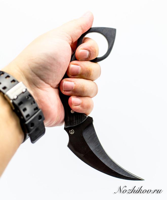 Керамбит Крюк-1 65г, грабКерамбит<br>Материал рукояти: ГрабМарка стали: 65Г-рессорнаяТвердость по роквеллу: 56-58 HRCМатериал ножен: Кожа<br>