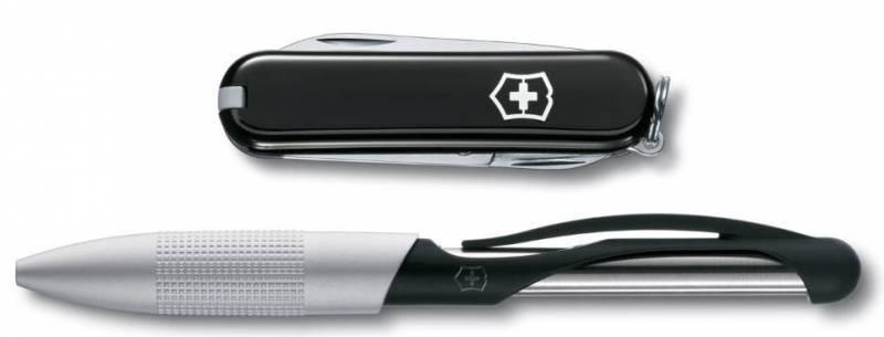 Подарочный набор Victorinox 4.4343.2 нож 0.6223.3 + ручка Cabrio ручка с синими чернилами черный