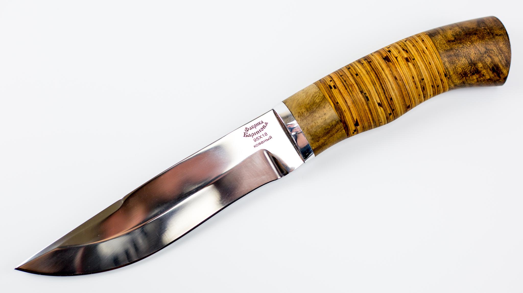 Нож Южный-2 в бересте, 95Х18Ножи Ворсма<br>Металл сталь - 95Х18 кованаяПолная длина 265 — 275 ммДлина клинка 145 — 160 ммДлина рукояти 120 — 125 ммШирина клинка 32 — 37 ммТолщина рукояти 30 — 35 ммТолщина обуха 2.6 — 5 ммТвердость стали, ед. HRC 58 — 60Материал рукояти - берестаМатериал ножен - кожа натуральная<br>