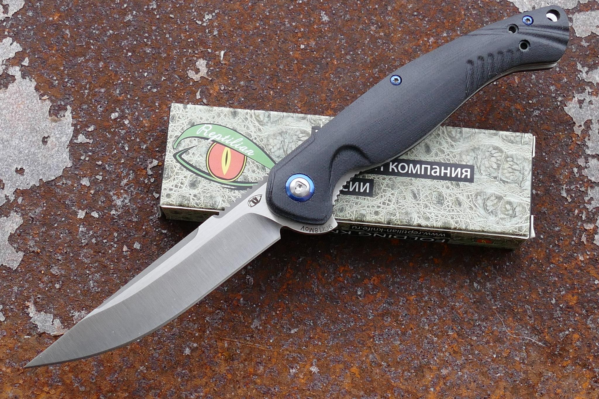 Нож  Франт ReptilianРаскладные ножи<br>марка стали: 9Cr18MoVтвёрдость: HRC57-58длина общая: 230ммдлина клинка: 99ммширина клинка наибольшая: 20ммтолщина обуха: 3.5ммвес: 118.9гртип замка: liner lockМеханизм открытия: IKBS (шарикоподшипниковая система)каждый нож имеет свой номер<br>
