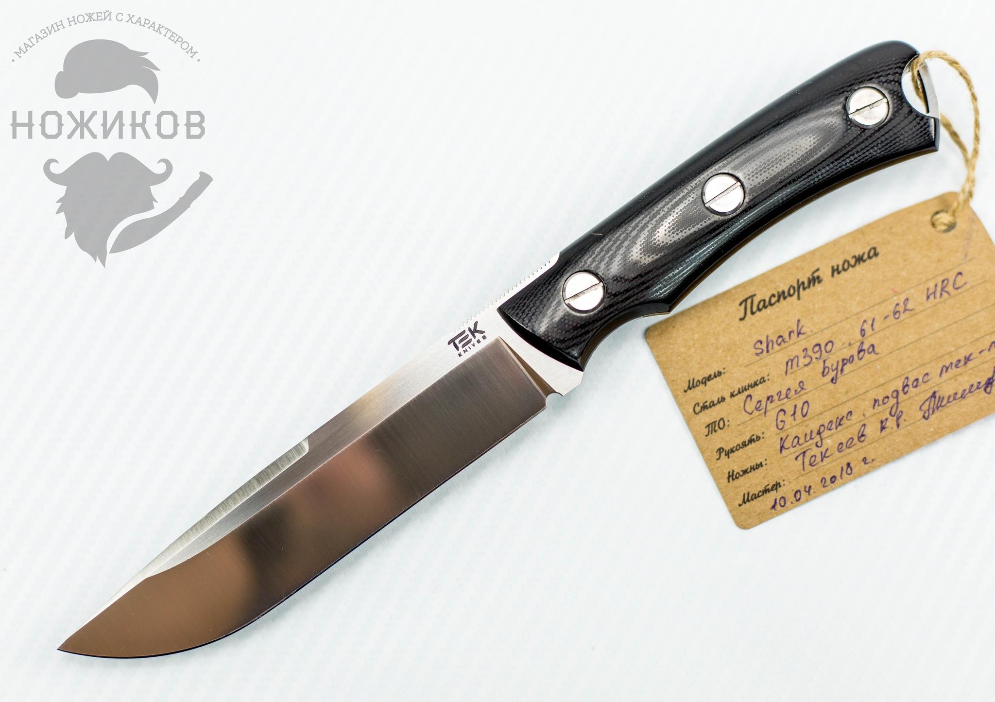 Туристический нож Shark, сталь M390Ножевая мастерская Текеева<br><br>