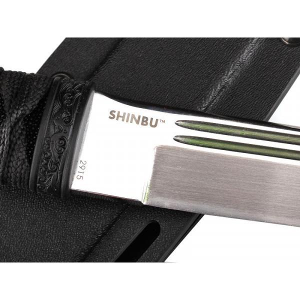 Фото 2 - Нож с фиксированным клинком CRKT Shinbu, сталь YK-30, рукоять кожа/паракорд