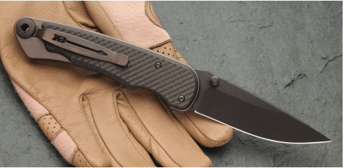 "Нож складной ""Akribis"" Meteorite Grey ZrN-PVD Coating Titanium Handle, Carbon Fiber Scales, Black SpartaCoat Blade 8.89 см."