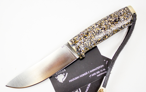 Нож Барбус, сталь D2, моллюск, рог оленя - Nozhikov.ru