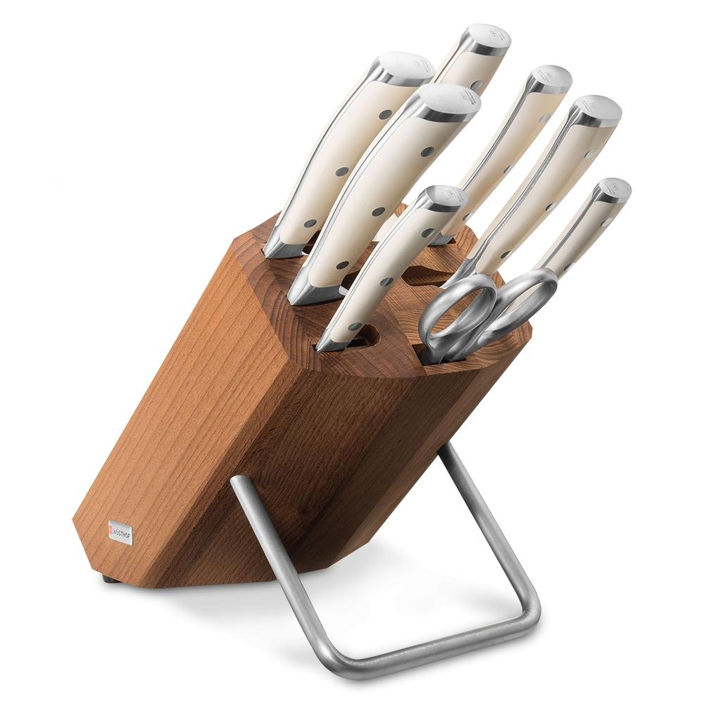 Набор кухонных ножей 6 шт., муссат, ножницы на деревянной подставке 9879 WUS, серия Ikon Cream White wusthof набор кухонных ножей ikon 6 шт на деревянной подставке 9866 wus wusthof