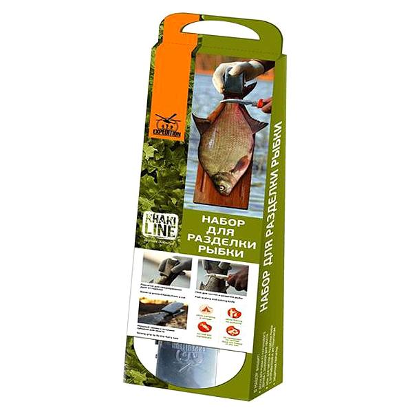Набор для разделки РыбкиНожи для рыбы<br>Вкусная уха зависит от правильного приготовления рыбы! А набор для разделки Рыбки сделает процесс подготовки главного ингредиента легким и быстрым. В него входит удобная разделочная доска из каучука особой формы, острый нож для чистки и особый компонент – зажим для хвоста, который не даст рыбе ускользнуть от Вас. Комплект для разделки рыбы облегчит снимание чешуи благодаря специально предназначенной для этого форме ножа – с узким, изогнутым лезвием и зубчиками. Не отказывайте себе в удовольствии купить набор для разделки рыбы Экспедиция для рыбака. Побалуйте себя и близких наваристой ухой!Характеристики комплекта:Размеры 13х47,8 смРазделочная каучуковая доска со специальным зажимом для рыбьего хвостаНож для чистки и разделки, оснащен открывалкой и экстракторомПерчатка для защиты рук.<br>