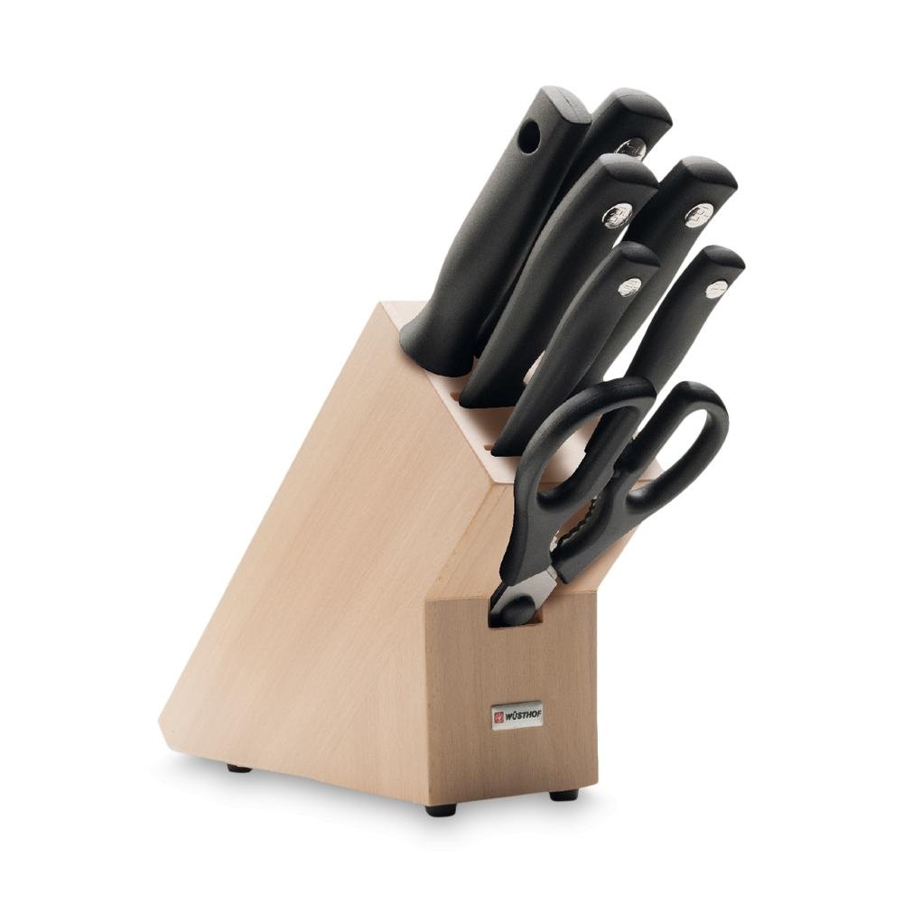 Набор кухонных ножей 5 шт., ножницы, муссат на деревянной подставке 9864, серия Silverpoint беспроводные наушники jabra move red