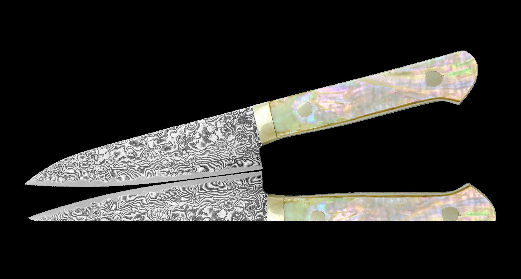 Нож универсальный 120мм, сталь R-2 в обкладках Damaskus, рукоять перламутр жемчугУниверсальные ножи<br>Нож универсальный 120мм, сталь R-2 в обкладках Damaskus, рукоять перламутр жемчуг<br>