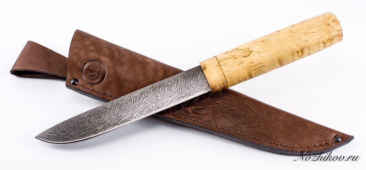 Фото 5 - Нож Якутский большой, сталь дамаск, карельская береза от Кузница Семина