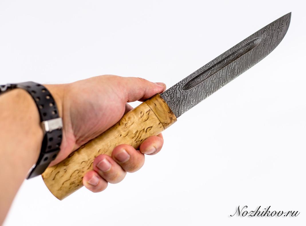 Фото 6 - Нож Якутский большой, сталь дамаск, карельская береза от Кузница Семина