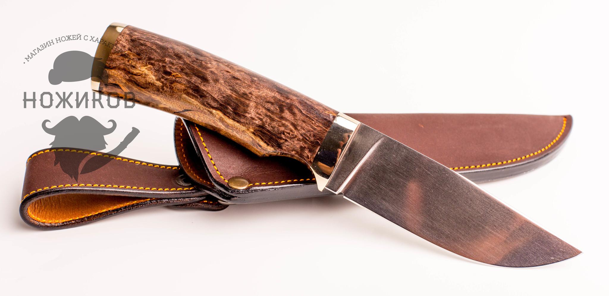 Фото 5 - Нож Охотник, сталь M390, рукоять карельская береза, мельхиор от Мастерская Ульданова