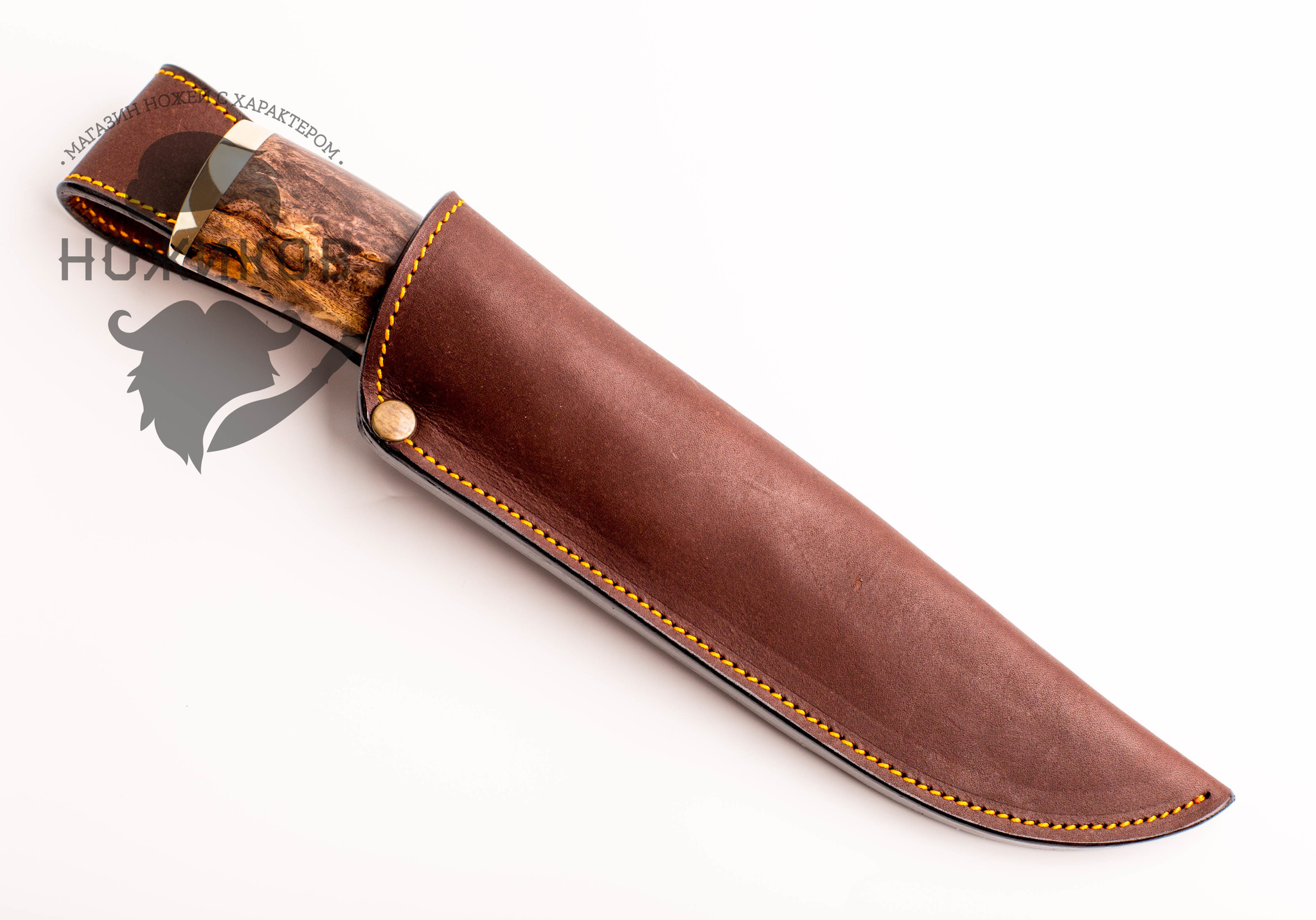 Фото 7 - Нож Охотник, сталь M390, рукоять карельская береза, мельхиор от Мастерская Ульданова