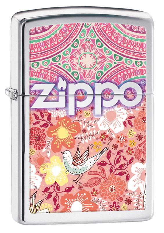 Зажигалка ZIPPO Classic Цветы с покрытием High Polish Chrome zippo shadow gradiant high polish chrome