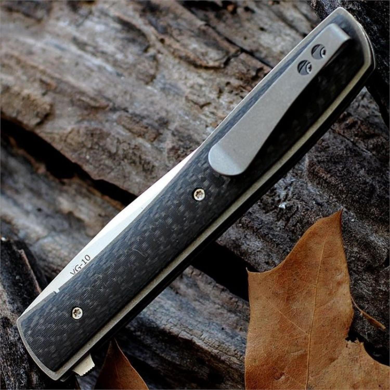 Фото 4 - Нож складной Urban Trapper Carbon - Boker Plus 01BO733, сталь VG-10 Satin, рукоять титан/карбон