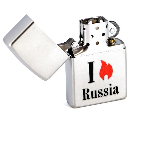 Фото 2 - Зажигалка ZIPPO Flame Russia  Satin Chrome, латунь с ник.-хром. покрыт.,сереб.,матовая, 36х56х12мм