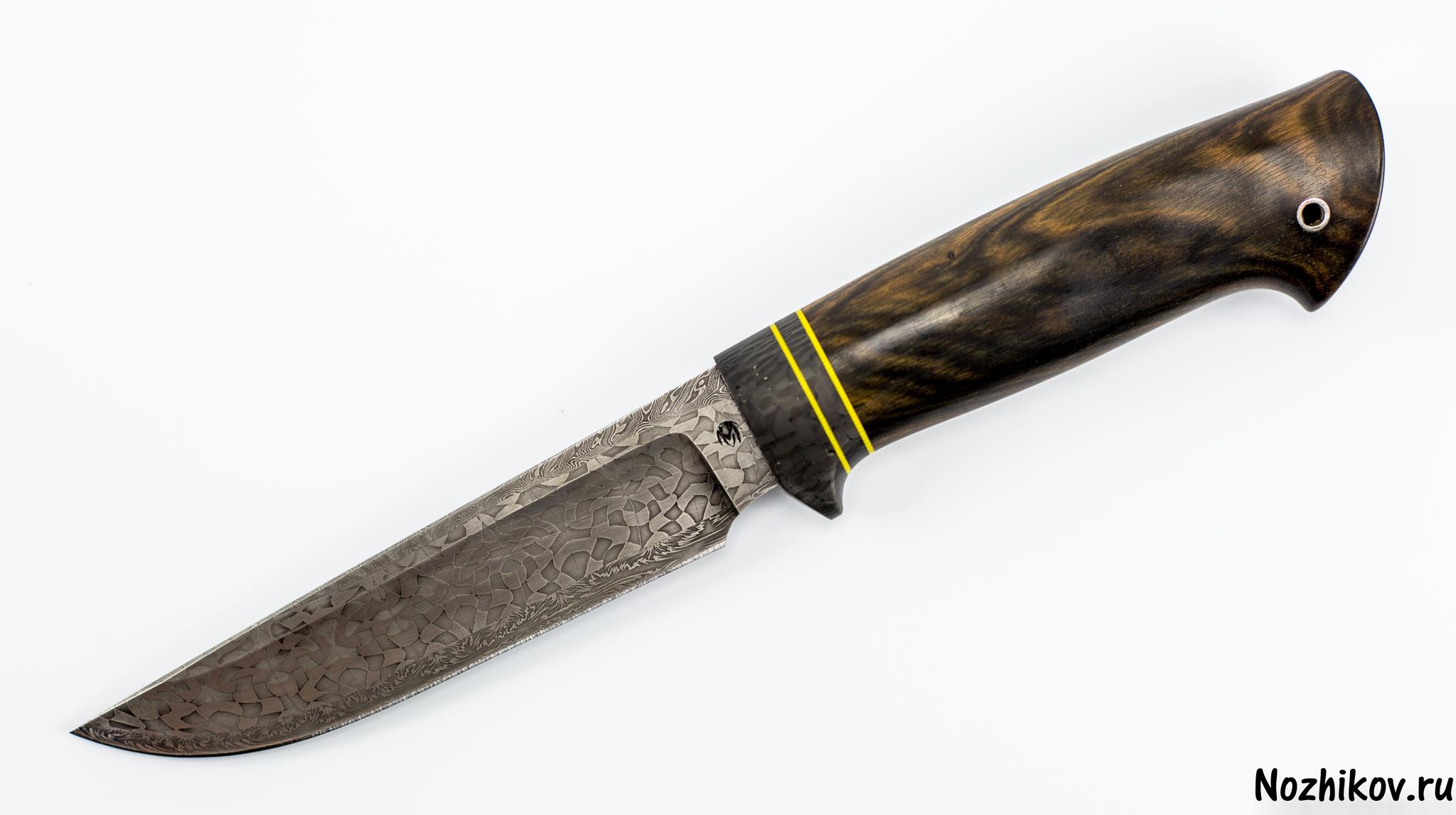 Нож из мозаичного дамаска №5, эбеновое дерево, карбонНожи Ворсма<br>Нож Кузнеца Матвеева, мозаичный дамаск+быстрорез, эбеновое дерево.<br>