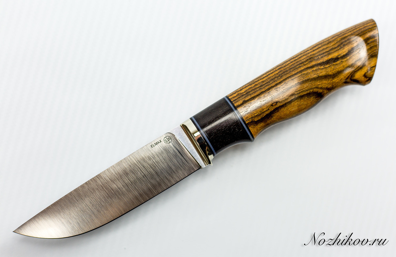 Нож Рабочий №22 из ElmaxНожи Павлово<br>Сталь: ElmaxРукоять: бокоте, эбен, литье мельхиорДлина клинка (мм.): 115 Наибольшая ширина клинка (мм.): 29 Толщина обуха клинка (мм.): 3,5-3,6 Толщина подвода (мм.): 0,3-0,5 Твердость стали: 60-61Hrc Общая длина ножа (мм.): 246 Поверхность клинка: Сатин Спуски клинка: Прямые<br>