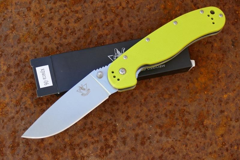 Нож Rat 06Раскладные ножи<br>Нож Steelclaw Крыса 06Тип замка: Liner-lockМатериал рукояти: G-10Цвет рукоятки: СалатовыйОбщая длинна: 228Длинна лезвия:90Толщина клинка: 3.8 ммМатериал лезвия: AUS-8Твердость: 59-60 HRСВес: 173 гр<br>