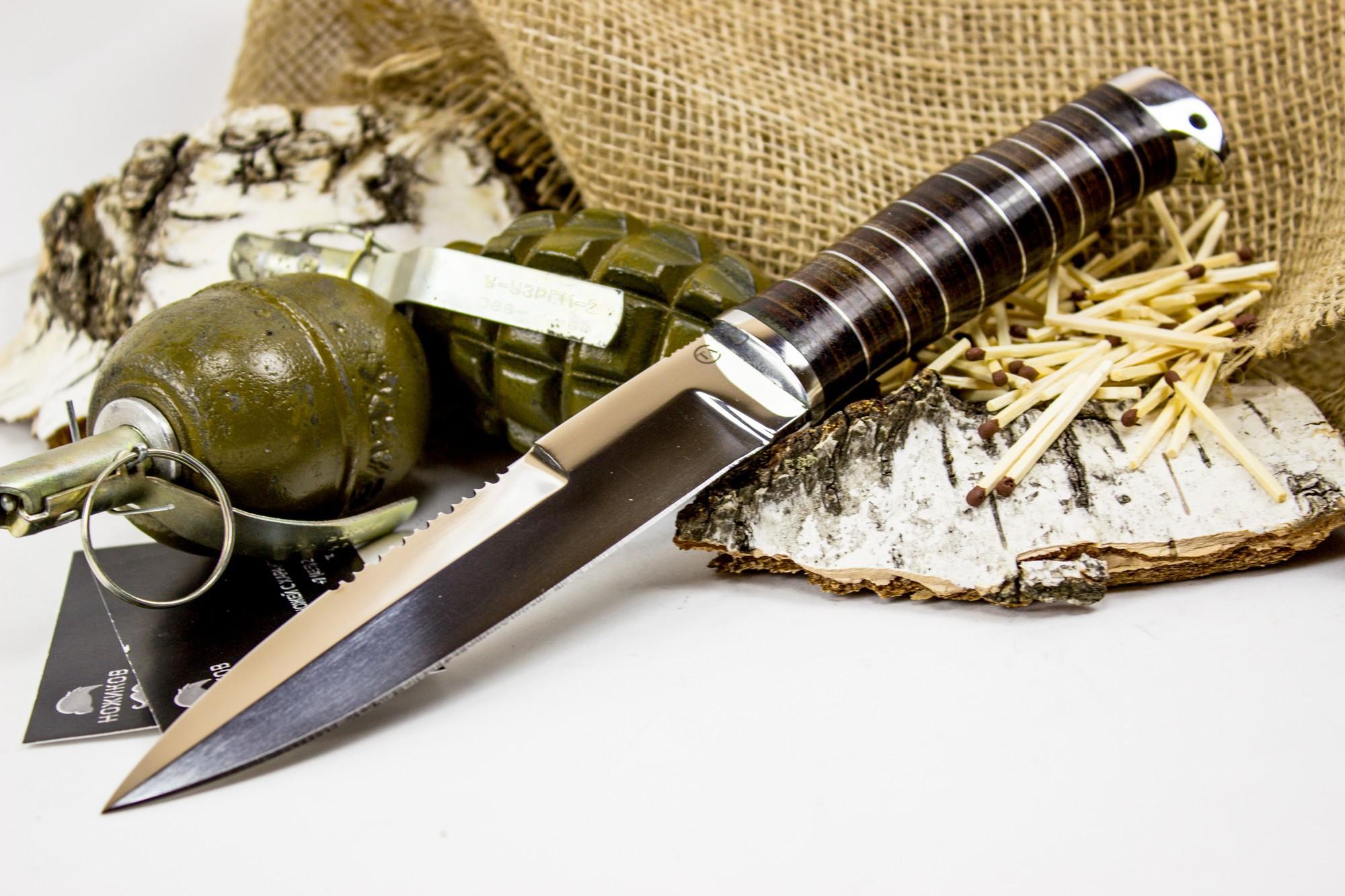 Фото 2 - Нож Пограничник, сталь 95х18, кожа от Титов и Солдатова
