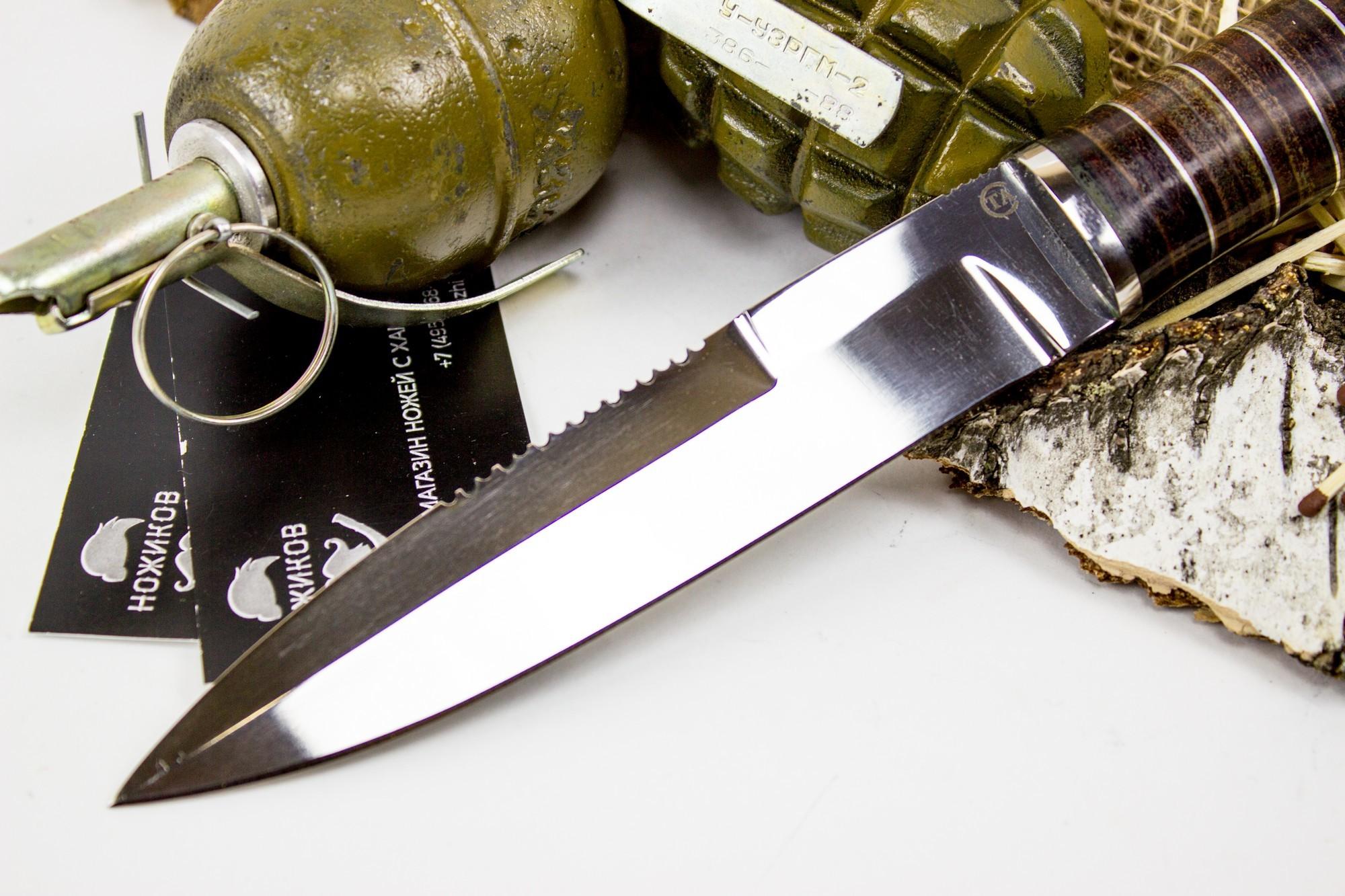 Фото 3 - Нож Пограничник, сталь 95х18, кожа от Титов и Солдатова