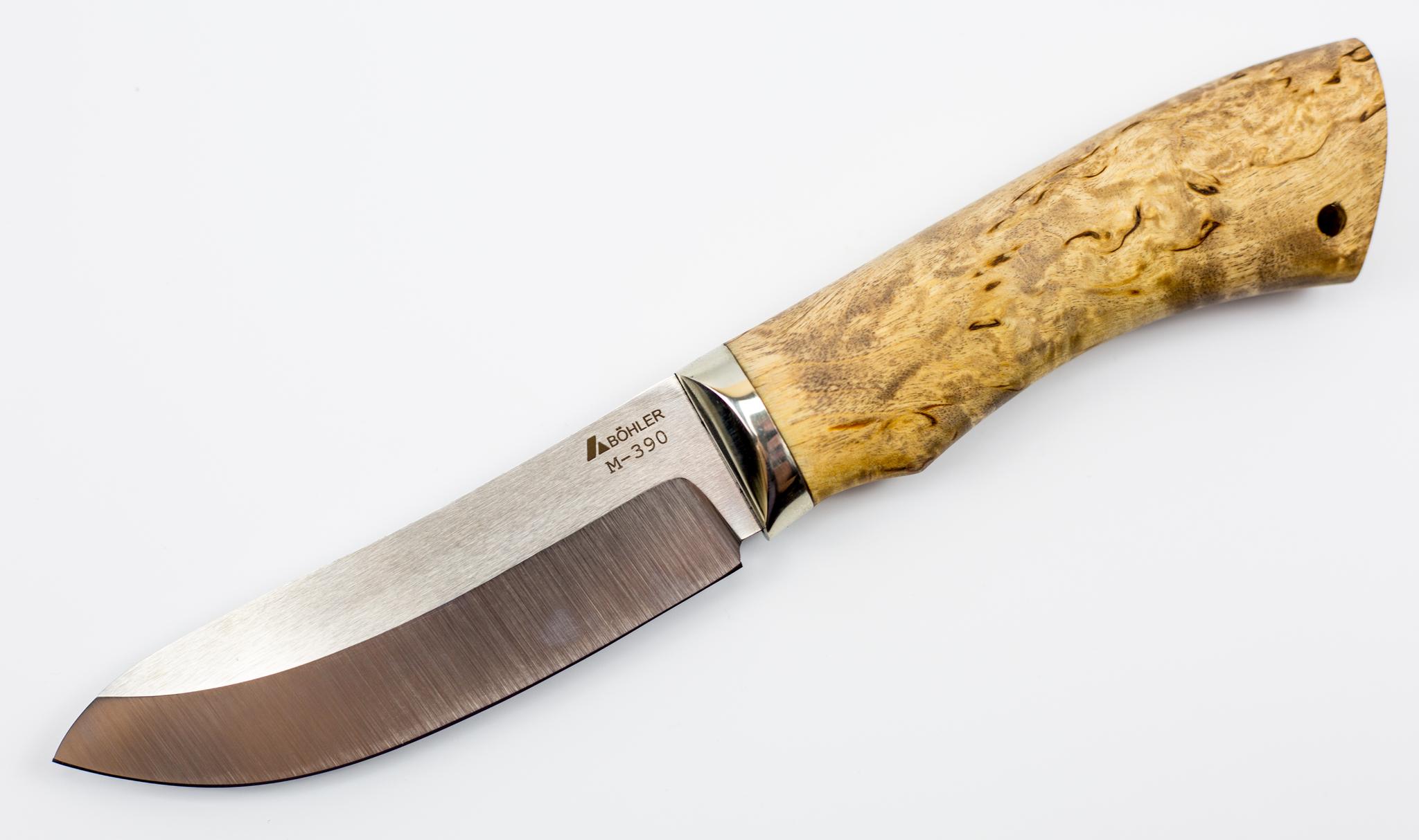 Нож M390, мельхиор, карельская береза