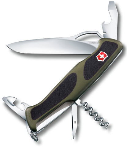 Нож перочинный Victorinox RangerGrip 61 0.9553.MC4 130мм 11 функций чёрно-зеленый - Nozhikov.ru