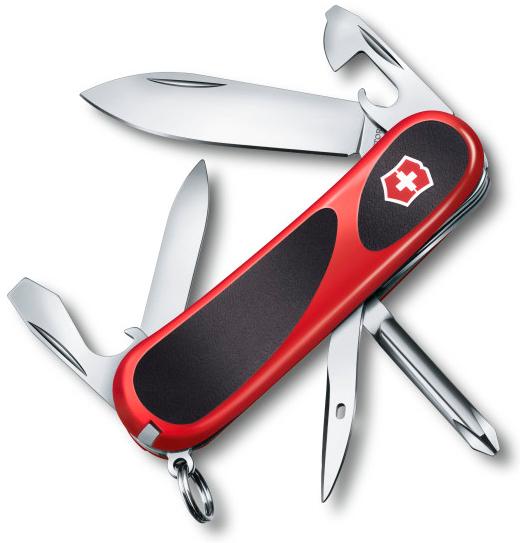 Нож перочинный Victorinox EvoGrip 11 2.4803.C 85мм 13 функций красно-чёрныйШвейцарские ножи Victorinox<br>Модель EvoGrip 11 2.4803.C Цвет корпуса красный/черный Размеры 85 мм<br>