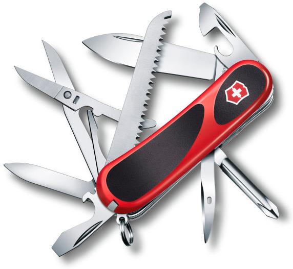 Нож перочинный Victorinox EvoGrip 18 2.4913.C 85мм 15 функций красно-чёрныйШвейцарские армейские ножи Victorinox<br>Модель <br>EvoGrip 18 2.4913.C<br>Цвет корпуса <br>черный/красный<br>Размеры <br>85 мм<br>